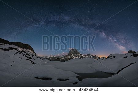 milky way over the mountains of spain poster