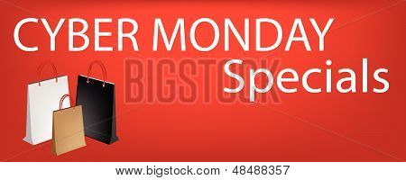 Paper Shopping Bags On Cyber Monday Sale Sticker