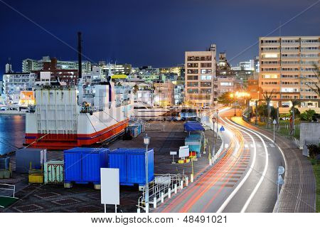 Naha, Okinawa, Japan port and cityscape.