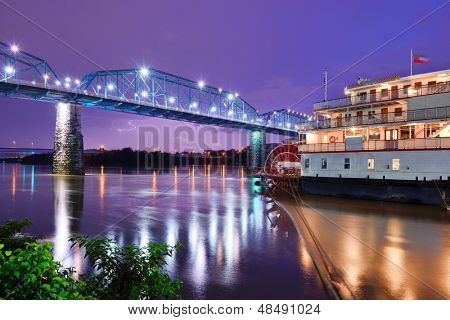 Showboat on the Tennessee River in Chattanooga, Tennessee.