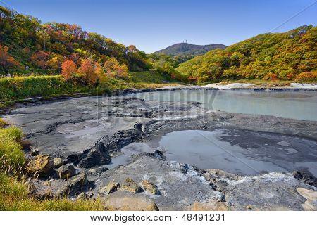 Natural springs of Oyunuma Lake in Hell Valley, Noboribetsu, Hokkaido, Japan.