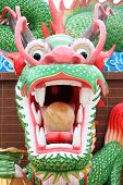 Dragon statue located outdoors in the temple. poster