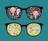 Retro sunglasses with cute child reflection in it. Vector illustration of accessory - isolated eyeglasses. poster