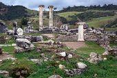 Old ruins of Artemis temple in Sardis Turkey poster