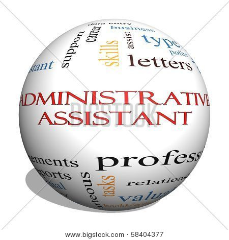 Administrative Assistant 3D Sphere Word Cloud Concept
