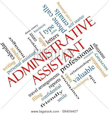 Administrative Assistant Word Cloud Concept angled with great terms such as professional secretary executive and more. poster