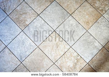 Ceramic rustic square tiled floor in the interior poster