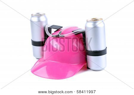 Hand free helmet for drink pink color