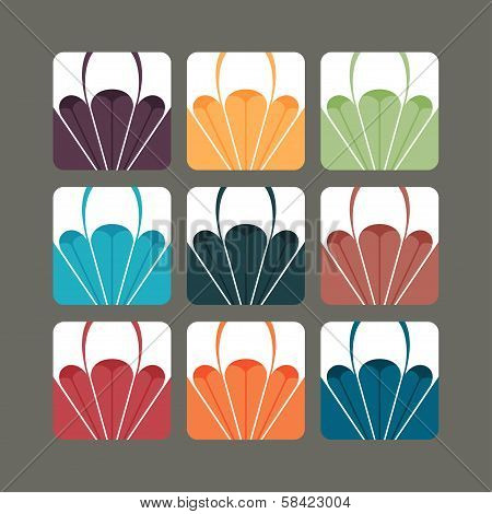 Set of paragliding vectors in colour variants