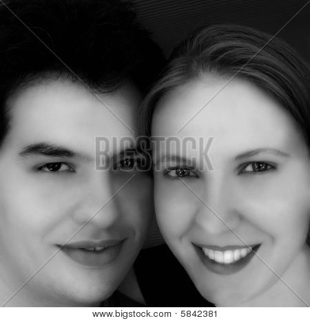 Young Couple Smiling - Black & White Version