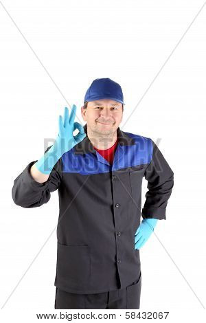 Worker with sign okey.