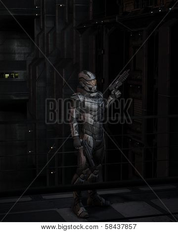 Science Fiction Soldier at Night