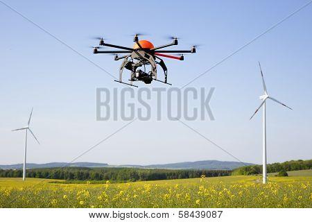 Flying Drone In Field