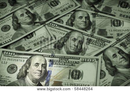 One Hundred Dollar Bills, Focus On Benjamin Franklin