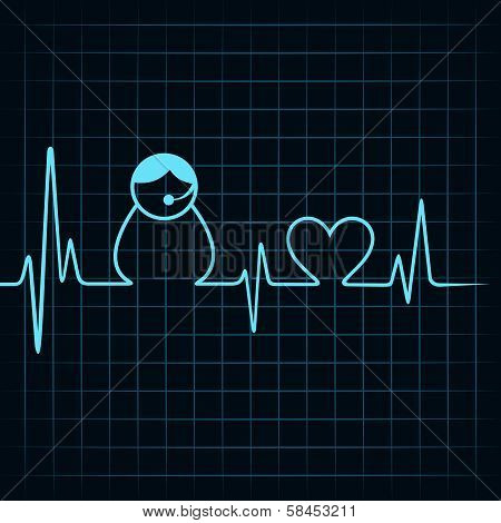 Heartbeat make a contact us icon and heart symbol