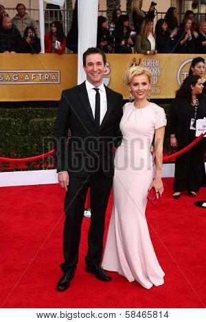 Noah Wyle and Sara Wells at the 19th Annual Screen Actors Guild Awards Arrivals, Shrine Auditorium, Los Angeles, CA 01-27-13