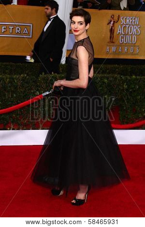 Anne Hathaway at the 19th Annual Screen Actors Guild Awards Arrivals, Shrine Auditorium, Los Angeles, CA 01-27-13