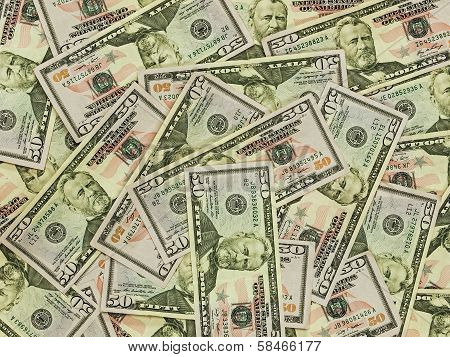 A Pile Of Fifty Dollar Bills As A Money Background