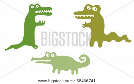 Green Cute Crocodiles