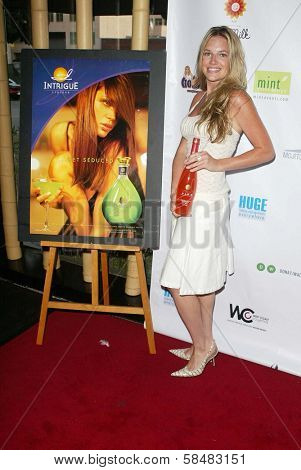 SANTA MONICA - JULY 23: Katie Whicker at the Sexy Summer Soire Party hosted by H.U.G.E benefiting Heal The Bay at AKWA Restaurant and Club on July 23, 2006 in Santa Monica, CA.