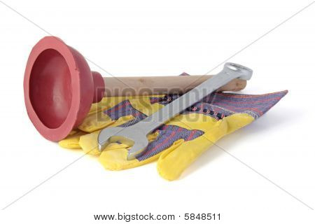 Typical tools used by a plumber. All isolated on white background. poster