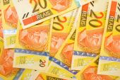 The Twenty Brazilian Real Currencies Background . poster