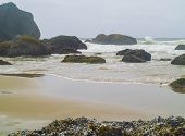 High Tide Coming in on the Oregon Coast at Ecola Beach poster