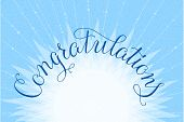 Congratulations lettering illustration hand written design on a lite-blue background. Vector illustration. poster
