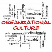 Organizational Culture Word Cloud Concept in red caps with great terms such as roles executive mergers mission and more. poster