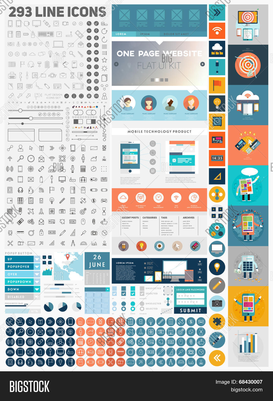 One Page Website Vector Photo Free Trial Bigstock