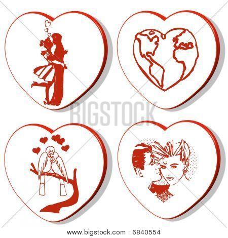4 Valentines Hearts -  World