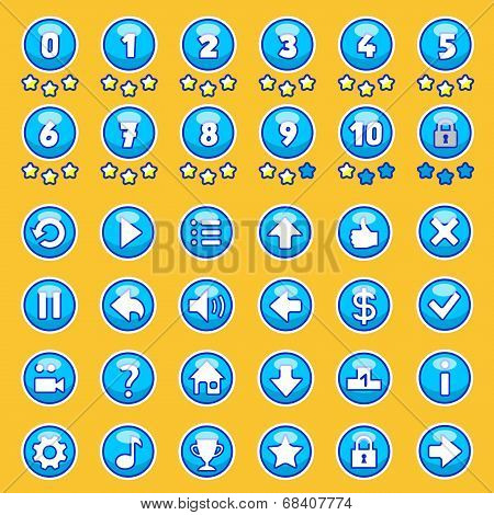 Vector aqua game buttons, level selection set poster