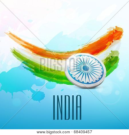 Creative Indian trio colors background with ashoka wheel and text India for 15th of August, Indian Independence Day celebrations.