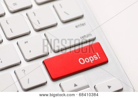 Mistake Concepts, With Oops Message On Keyboard.