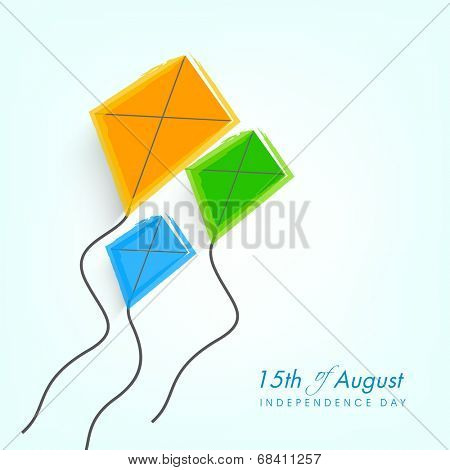 Kites in Indian National Trio colors showing freedom for 15th of August, Indian Independence Day celebrations background.
