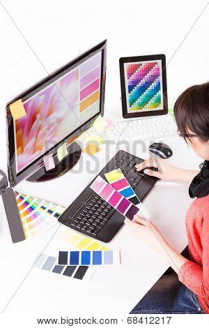 Graphic Designer At Work. Color Samples.