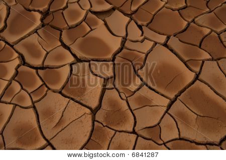 Dried out cracked clay soil during drought.