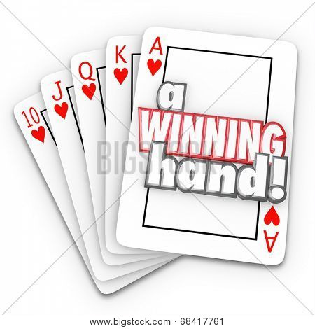 A Winning Hand words on a royal flush in playing cards as a competitive advantage game