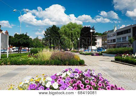 Masaryk Square in Letovice, Czech Republic