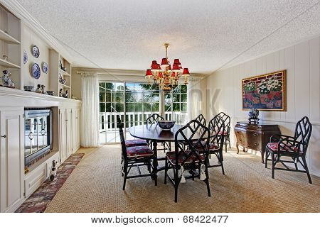 Old Fashion Dining Room Interior With Fireplace