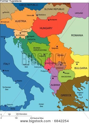 Former Yugoslavia with Countries, Names
