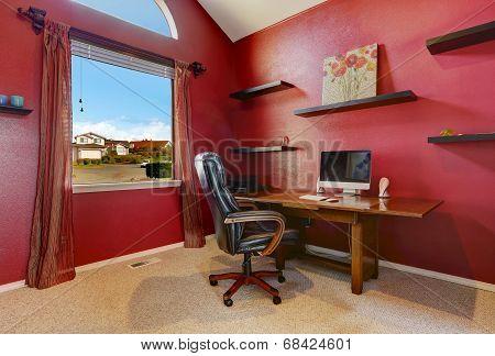 Bright Red Office Room Interior