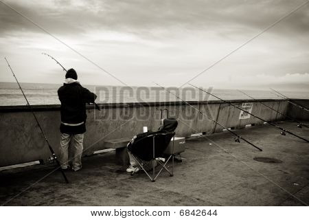 Line of Fishing Rods along Pacifica Pier