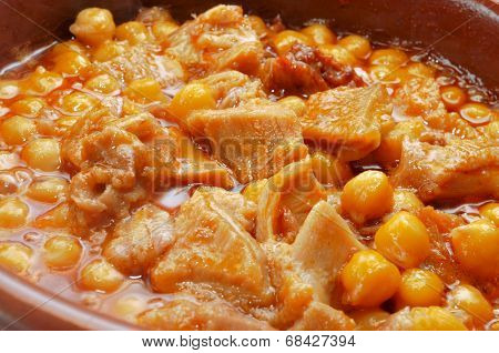 spanish callos, a typical stew with beef tripe and chickpeas