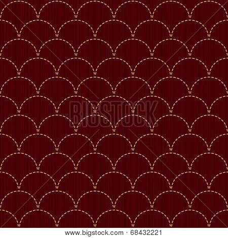 Traditional Japanese Embroidery Ornament with fish Scales. Vector seamless pattern.