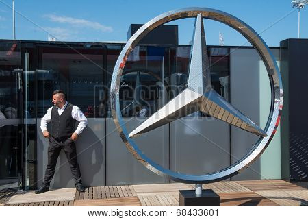 VOLOKOLAMSK, MOSKOW REGION - JULY 13, 2014: DTM (Deutsche Tourenwagen Masters) Moscow Raceway. Hangar by Mercedes racing team
