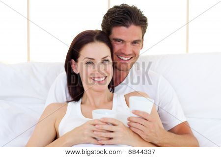Loving Couple Drinking Coffee