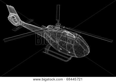 helicopter, 3D model, body structure , wire model poster