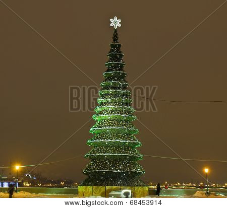 Christmas - New Year tree on the street on Vasilievskiy island in St. Petersburg Russia. poster