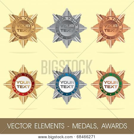 Vector elements - medals, awards(gold, silver, bronze) poster